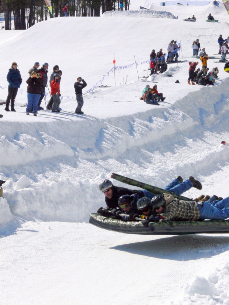 At speeds of 35 mph, Team Tank achieves liftoff at the mattress races last weekend at Shawnee Peak.