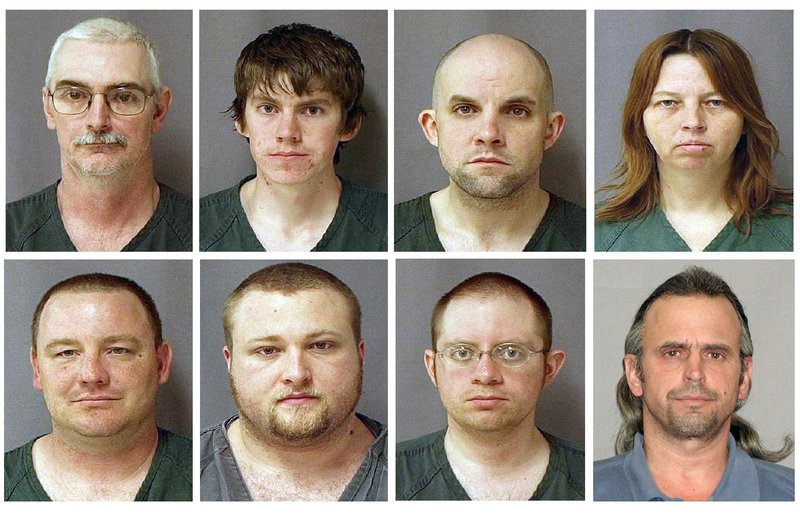 Nine suspects tied to Hutaree, a Christian militia, were charged Monday with conspiring to kill police officers and to cause the deaths of scores more by attacking a slain officer's funeral. From top left are David Brian Stone Sr., 44, of Clayton, Mich,; David Brian Stone Jr. of Adrian, Mich,; Jacob Ward, 33, of Huron, Ohio; and Tina Mae Stone. From bottom left are Michael David Meeks, 40, of Manchester, Mich,; Kristopher T. Sickles, 27, of Sandusky, Ohio; Joshua John Clough, 28, of Blissfield, Mich.; and Thomas William Piatek, 46, of Whiting, Ind.