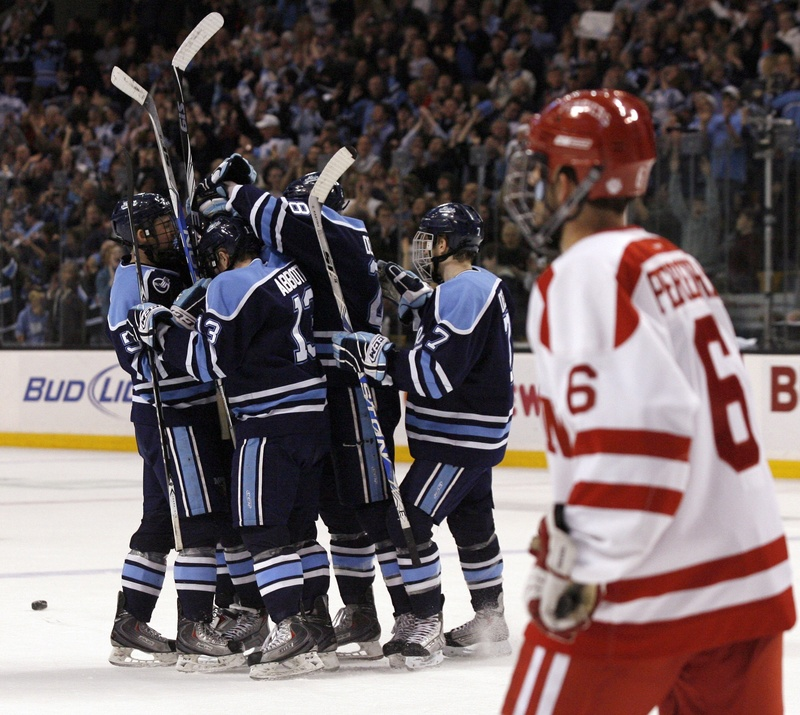UMaine celebrates Brian Flynn's goal during the first period of Friday's Hockey East semifinal against Boston University at TD Garden in Boston. The Black Bears withstood a third-period rally by the Terriers, holding on for a 5-2 win