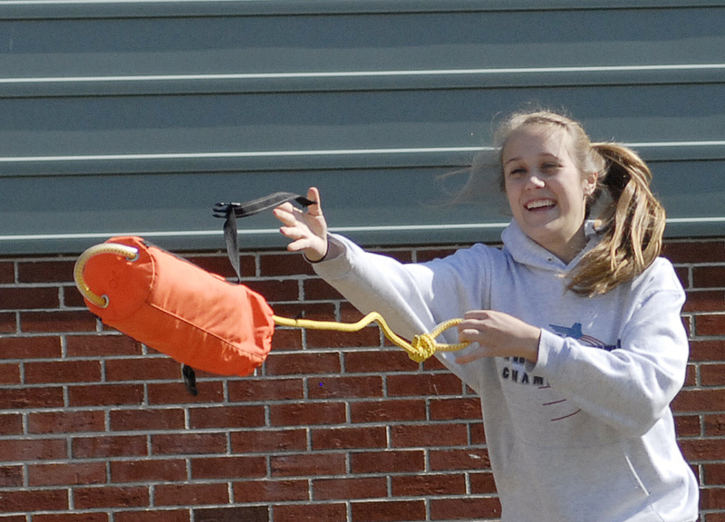 Allicyn Fitzgerald of Lisbon High School learns safety for whitewater rafting with a group from Washington County Community College at the Teens to Trails conference April 4.