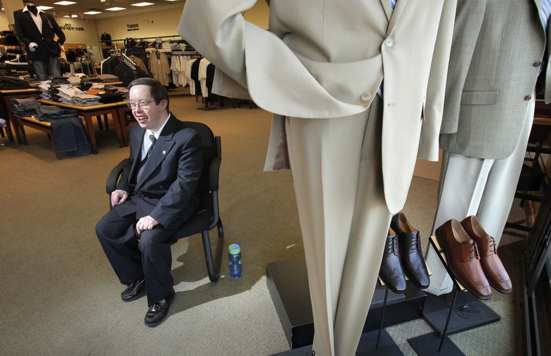 Jimmy Gendron, 41, is one of dozens of Mainers with disabilities who have jobs thanks to the efforts of Creative Work Systems. Jimmy works as a greeter at Men's Wearhouse in South Portland, the only person with that position in the 1,200-store chain.