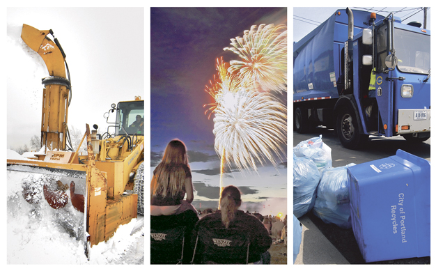 The proposed Portland city budget calls for less snow removal, no Fourth of July fireworks and increased fees for trash bags.