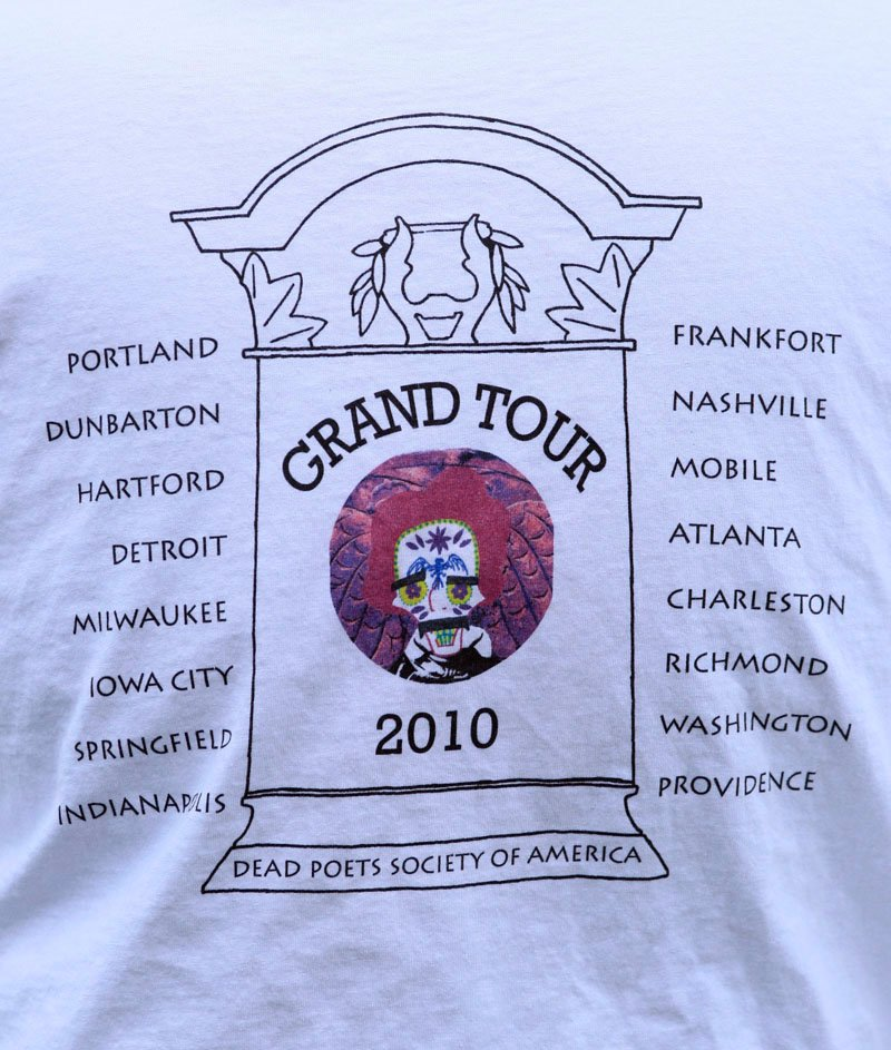 """A list of stops on Walter Skold's upcoming 22-state tour of dead poet burial sites is seen on a t-shirt, Tuesday, in Portland. Skold, the founder of the Dead Poets Society of America, hopes to make Oct. 7th """"Dead Poets Remembrance Day."""""""