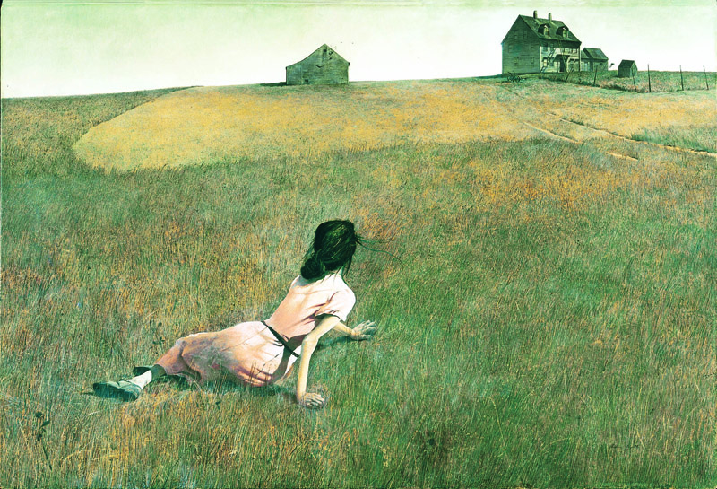 """Devastated by his father's death in 1945, Andrew Wyeth found himself drawn to people like the crippled Christona Olson, whom he immortalized in 1948 in """"Christina's World."""" Christina's World Wyeth"""