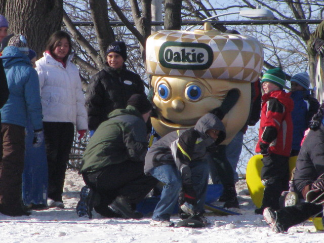 Oakhurst Dairy's Oakie joins the fun at Payson Park for the WinterKids' Welcome to Winter Event. Oakhurst provided milk at the event, which teaches about outdoor activities.