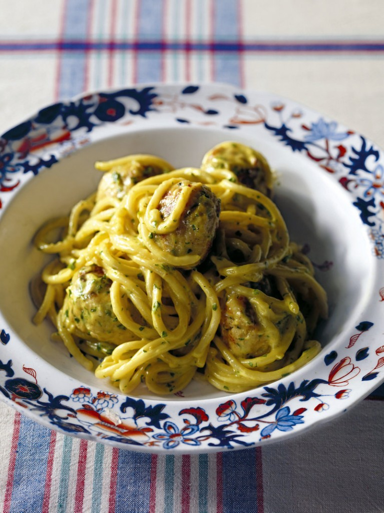 """Spaghetti with curried chicken meatballs is from """"Chicken & Other Fowl,"""" by John Torode."""