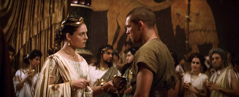 "Alexa Davalos as Andromeda and Sam Worthington as Perseus in ""Clash of the Titans,"" a 3-D update in which the heroes, no longer garbed in fluffy white togas, battle gods and monsters in a dark, gritty world."