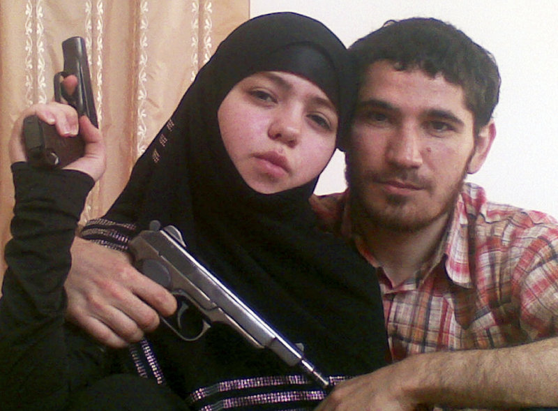 This undated photo purportedly shows 17-year-old suicide bomber Dzhanet Abdurakhmanova, left, and her husband, Islamist rebel Umalat Magomedov, both now dead.