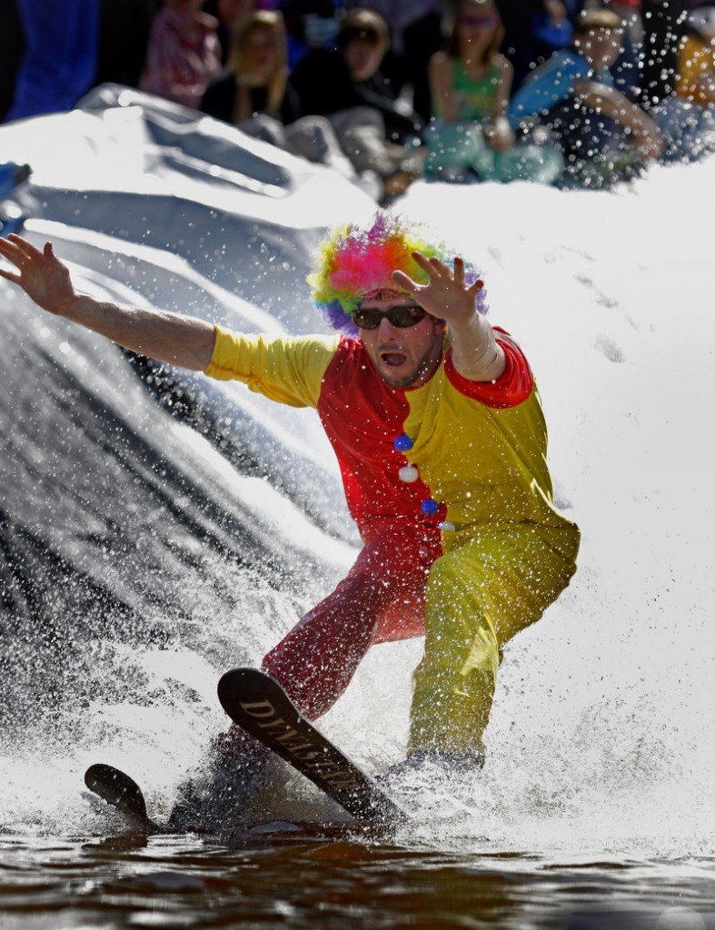George Hebert of Rangeley isn't clowning around as he gives it his all.