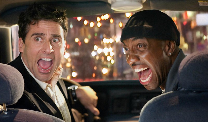"Steve Carell, left, and J.B. Smooye face the bad guys in the comedy, ""Date Night."""