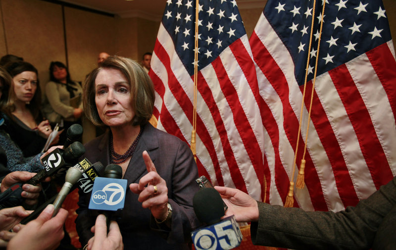 "House Speaker Nancy Pelosi speaks to the media in San Francisco on Tuesday. She said ""people have been active in expressing their disagreement"" and sometimes those expressions have risen ""to the level of threats or violence."""