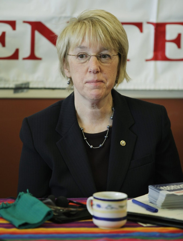 Sen. Patty Murray takes part in a roundtable discussion in Seattle on Tuesday. Earlier in the day, a man was charged with threatening a public official in connection with threats left on Murray's office voicemail.