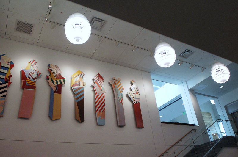 """Seven Sentinels,"" a painted installation by Frederick Lynch, has been tidied up and relocated in better light at the Portland Public Library."