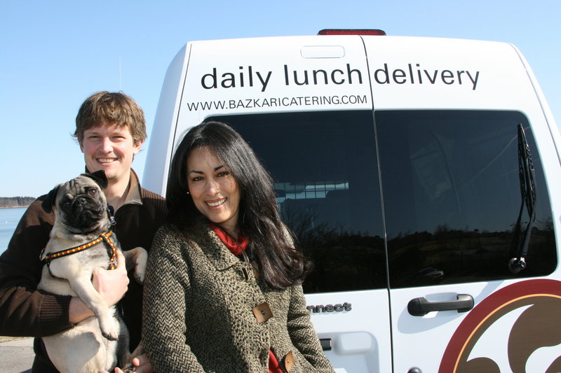 Owners Ben and Anna O'Connell are seen with the Bazkari delivery van and their pup, Pablo. They offer a menu that specializes in food inspired by Spanish and Basque influences.