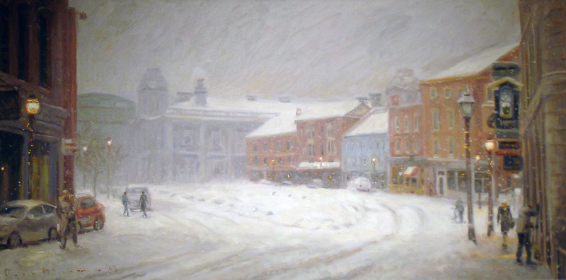 """""""Boothby Square, Winter"""" by Paul Black, oil on canvas"""