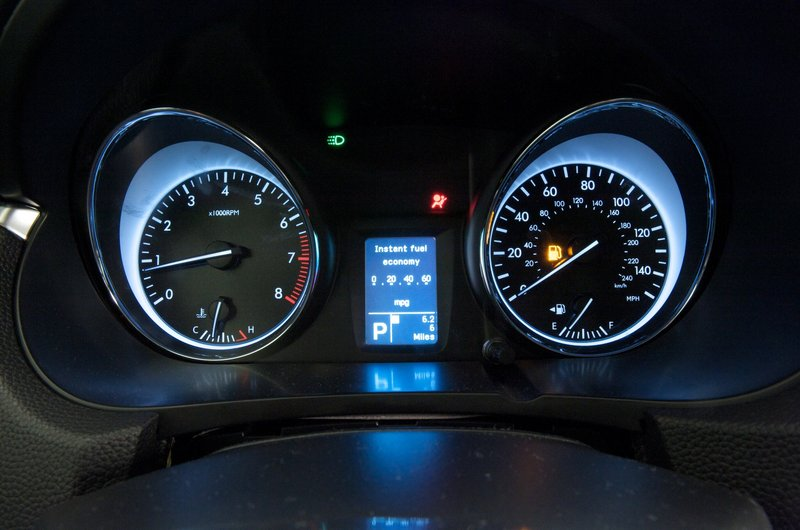 The instrument panel is bright and reads well, but the speedometer was off a few miles per hour.
