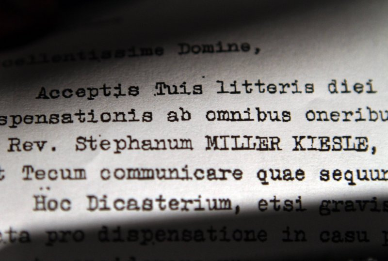 The name of Stephen Kiesle is highlighted in a 1985 letter signed by then-Cardinal Joseph Ratzinger.