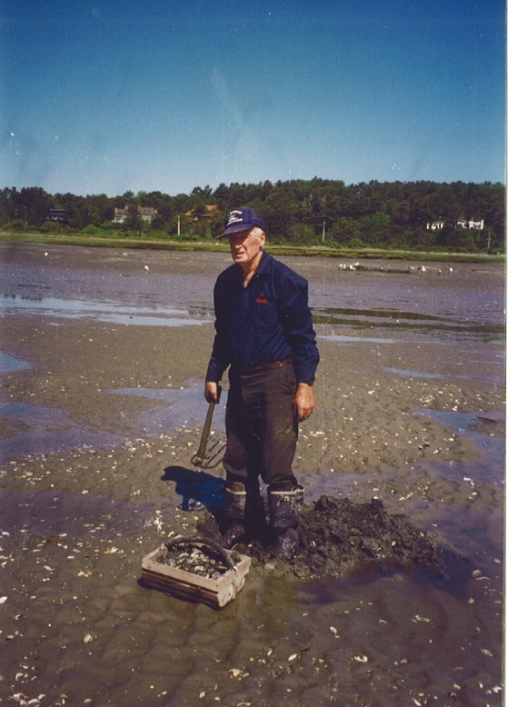 Eldred Harmon, shown at 89, was still clamming on the flats in Scarborough when he was well into his 90s.
