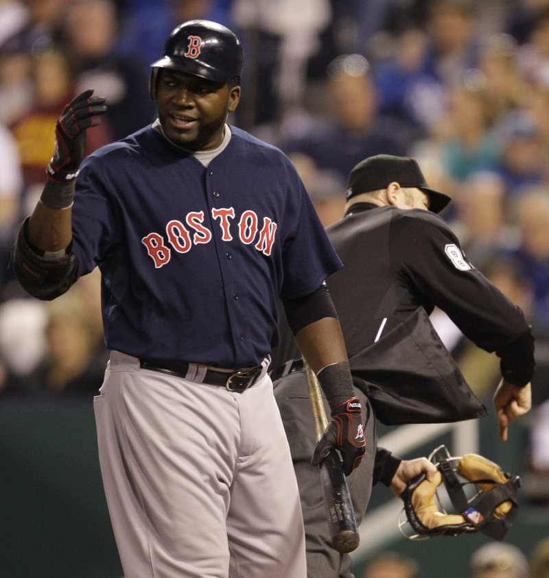 David Ortiz didn't like umpire Mike Estabrook's strike call, Estabrook didn't like Ortiz's objections, and poof, Ortiz was gone in the fifth inning of the Red Sox's 4-3 loss.