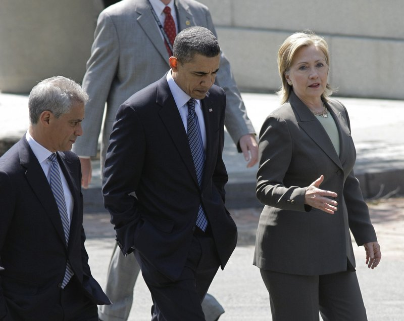 President Obama, with Secretary of State Hillary Rodham Clinton, right, and White House Chief of Staff Rahm Emanuel, walks to the Blair House for a series of one-on-one meetings with some of the leaders attending the Nuclear Security Summit in Washington on Sunday.