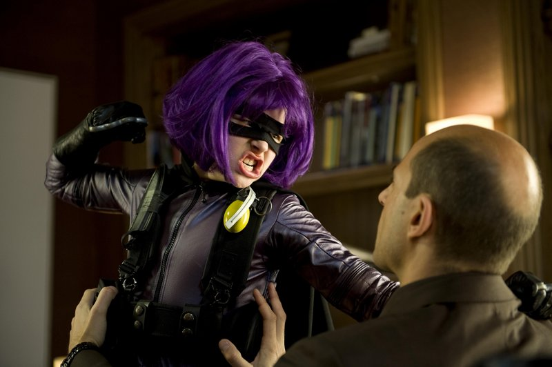 "Chloe Moretz plays Hit-Girl and Mark Strong is a crime boss in ""Kick-Ass,"" which attempts to make fun of comic book stereotypes."
