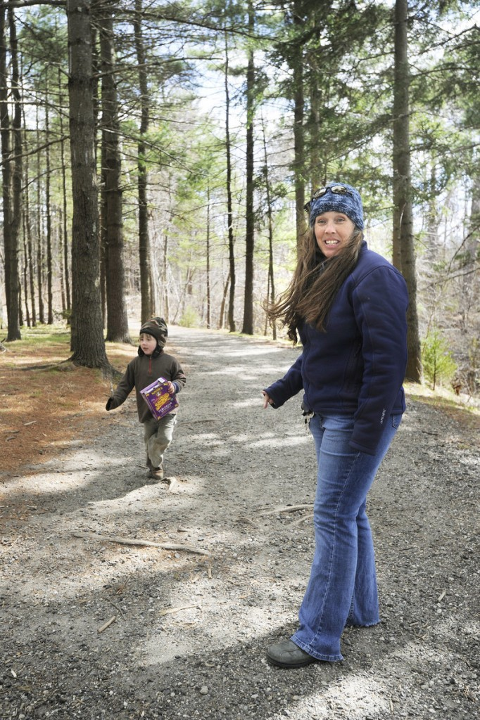 Rose Masse of Portland and her son, Jonathan Rand, are almost daily visitors to the walking trail on Mackworth Island. In response to the state's budget crisis, visitors to Mackworth will be paying a fee to visit – a move that Masse opposes.