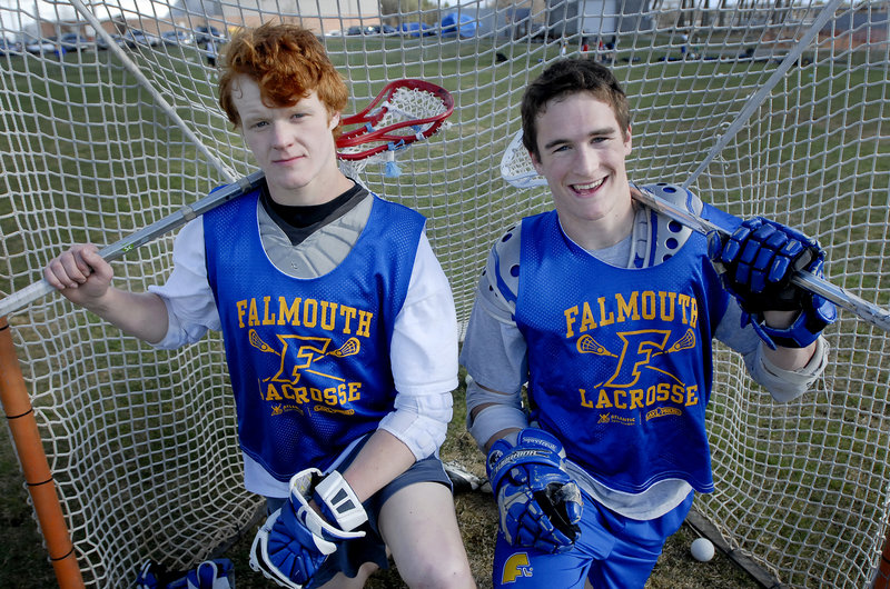 Mike Kane, left, and Dan Hanley are linemates for the Falmouth boys' lacrosse team.