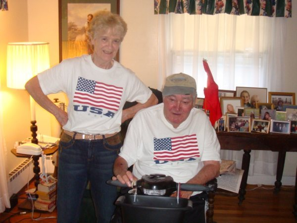 """""""Joe Fish"""" Hopkins is seen with his wife of 53 years, Jeanne. Even after retiring, he woke up at 4 a.m."""