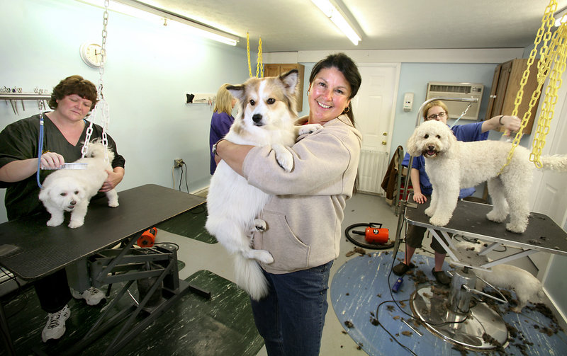 Jeanne Labonte, owner of Paw-zn-Around Doggy Daycare, holds a dog named Chocorua in the grooming area at Paw-zn-Around Doggy Daycare, an award-winning business in Saco.