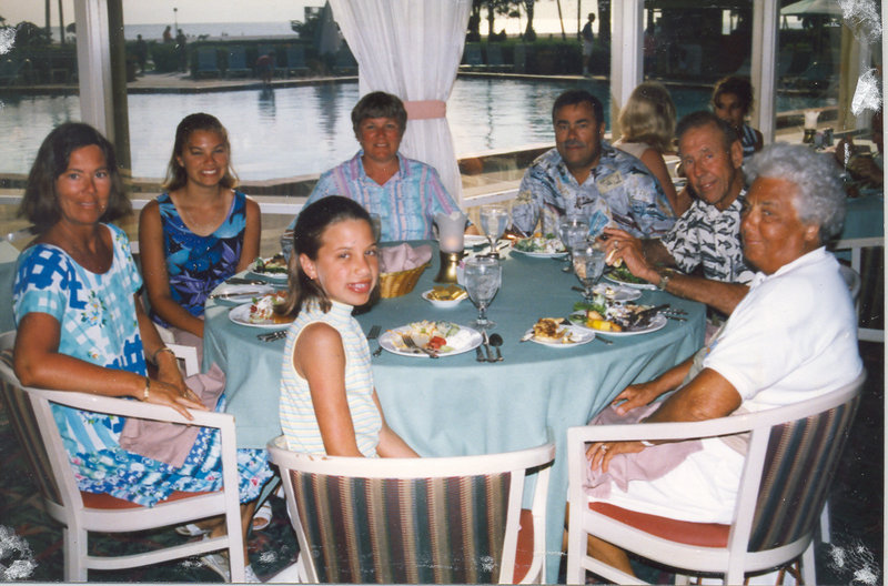 Charlotte Cote, right, is shown with her family. Around the table from the right are her husband Robert, son Ronald, daughter-in-law Linda Cote, granddaughter Cassandra Cote Grantham, daughter Pamela Potter and granddaughter Chelsea Cote.