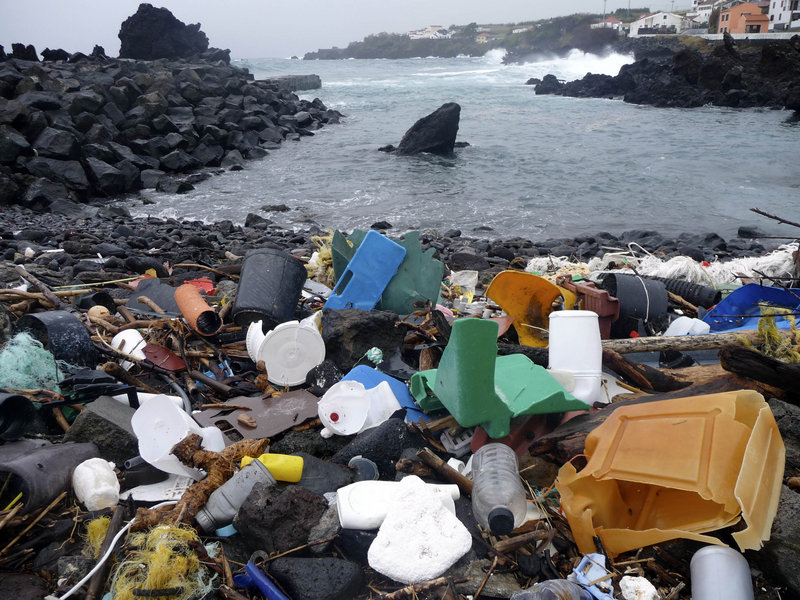 Plastic debris litters a coastal area of the Azores Islands in Portugal, a sign that offshore waters have become a repository for the waste, carried in by a variety of ocean currents.