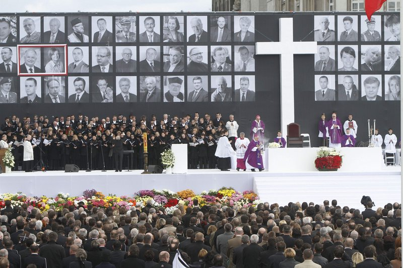 Bishops and cardinals enter the altar stage during a national memorial service on Pilsudski Square in Warsaw on Saturday. The service remembered 96 people killed in a plane crash.