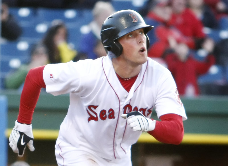 Portland's Lars Anderson watches as his home run sails over the wall against the Binghamton Mets at Hadlock Field on Monday. Anderson went 2 for 4 and is batting .316.