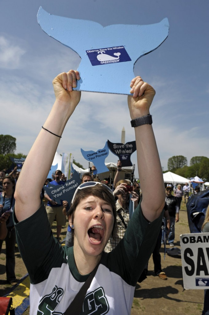 Carolyn Auwaerter of Philadelphia, Pa., takes part ina rally Thursday on the Mall in Washington against commercial whaling. The man who coordinated the first Earth Day in 1970 says some of the passion has faded.