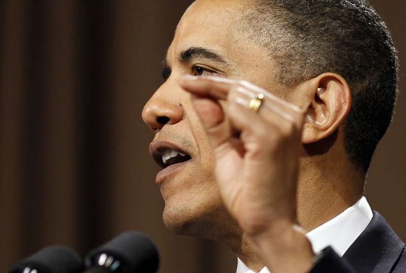 President Obama talks about the need for financial regulatory reform at Cooper Union College in New York on Thursday.