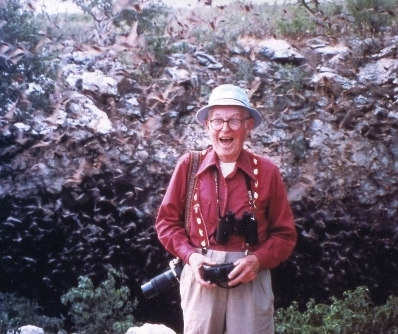 George Sharpe, a Portland bird enthusiast who died this month, delights in a swarm of bats as it emerges from a cavern in Texas. His passion for winged creatures got others around him hooked.