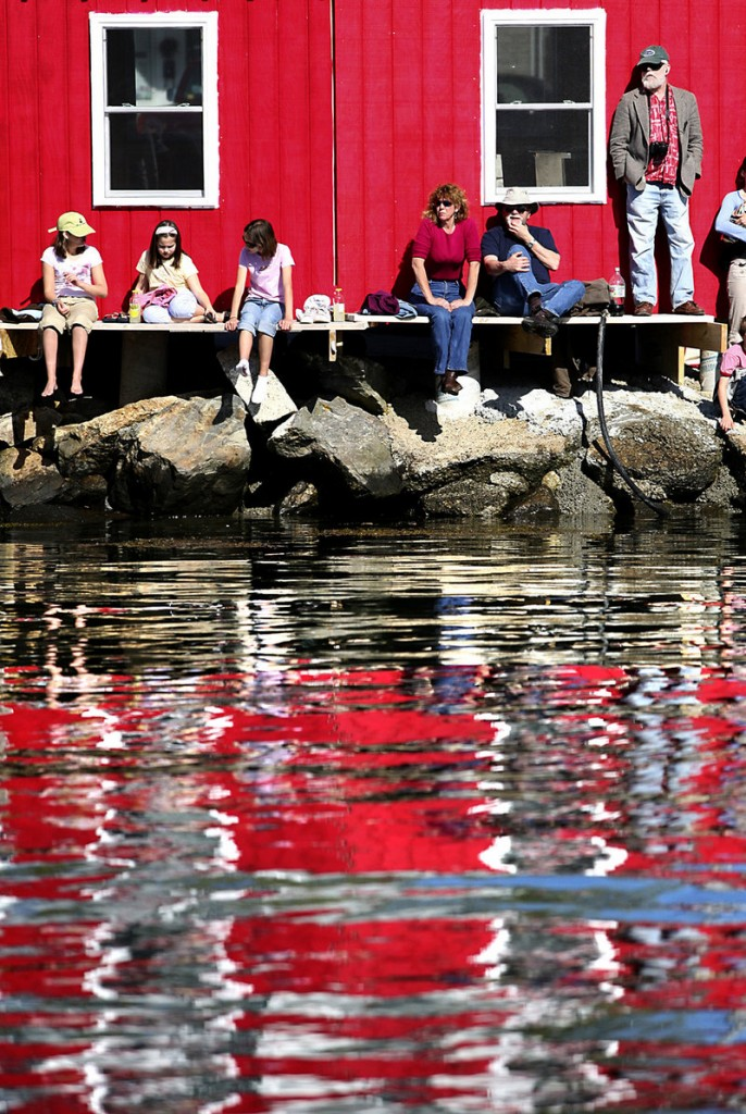 Spectators watch the trap-hauling competition during the 37th annual Fishermen's Festival in Boothbay Harbor Saturday.