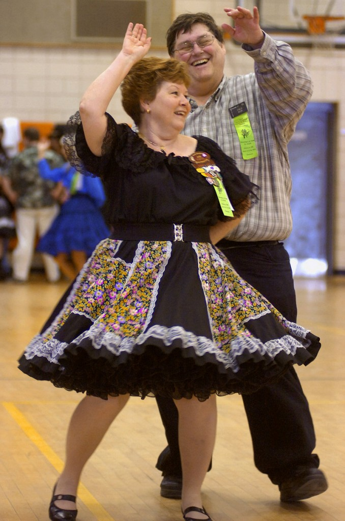 Fred Rick of Vernon, Conn., twirls his dance partner, Judy Plantier, also of Vernon, during the 52nd annual New England Square and Round Dance Convention in Biddeford Saturday. The gathering started Thursday night and wraps up with the Trail-out Dance at 9 a.m. today.