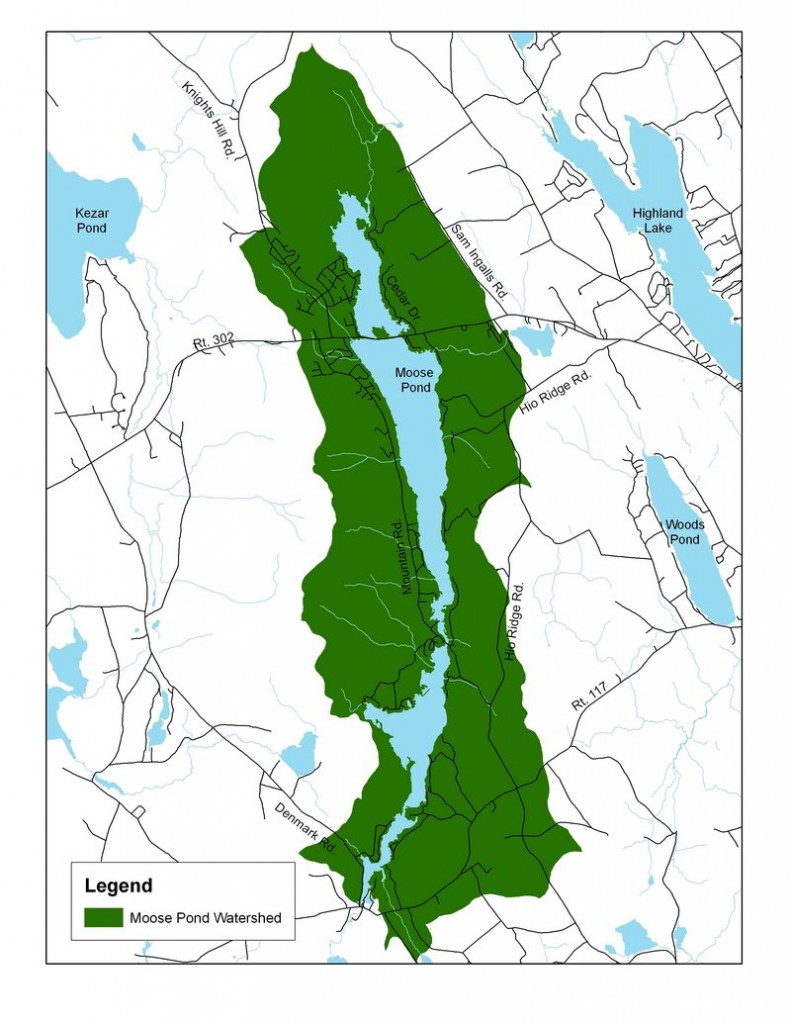 This map shows the Moose Pond watershed.