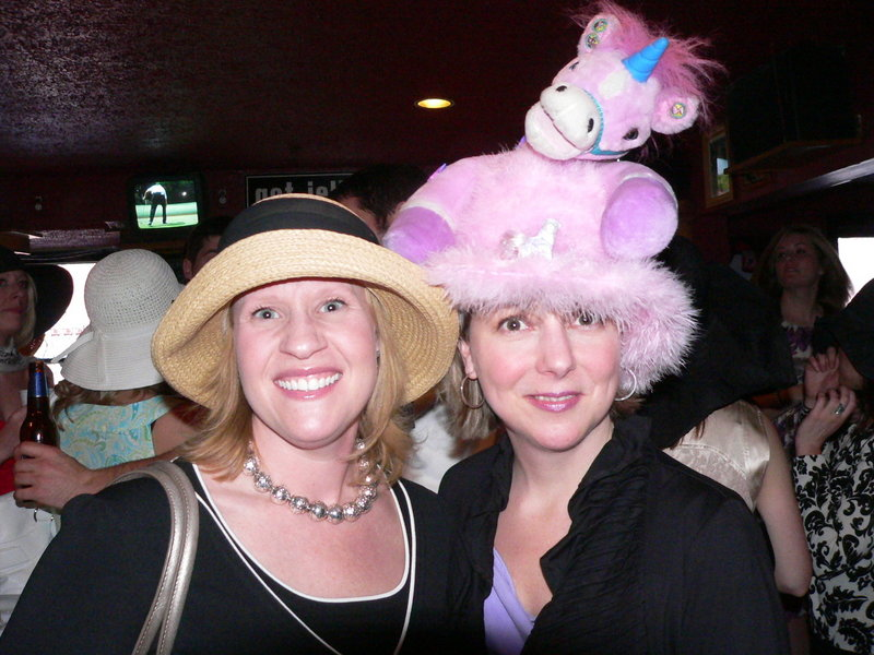 Saturday's Kentucky Derby parties will be filled with hats – both classic and funny – as Lisa Fraley and Heather Jury showed at last year's Junior League Derby Day Party.