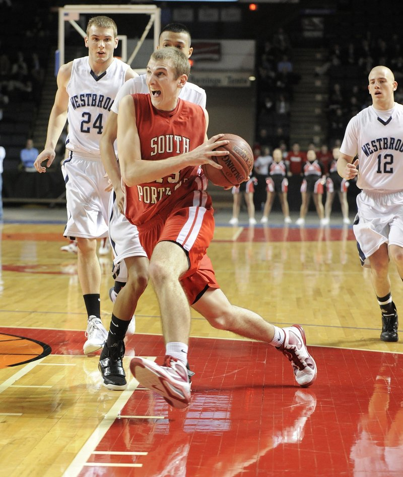 Despite missing all but three games of the season with a pelvic fracture, Keegan Hyland of South Portland scored 32 points in a Western Class A semifinal. He'll attend Gonzaga.