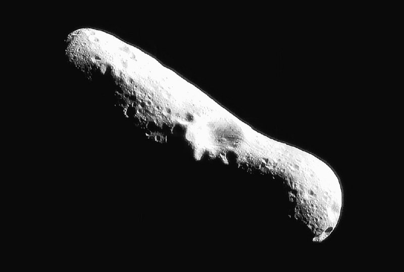 Near-Earth asteroids like this one, named Eros, may be more attractive to explore after the discovery of a significant amount of ice and organic molecules on the asteroid named 24 Themis. Scientists have long searched for solid evidence that water could have come to earth via asteroid collision.