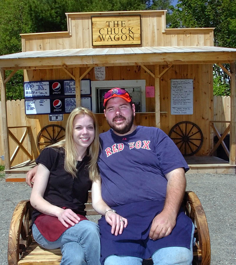 MAY WE TAKE YOUR ORDER?: Brandy and Josh Pinkham hope sales will jump this weekend during the popular 10-mile yard sale at their Chuck Wagon lunch stand in Cornville.
