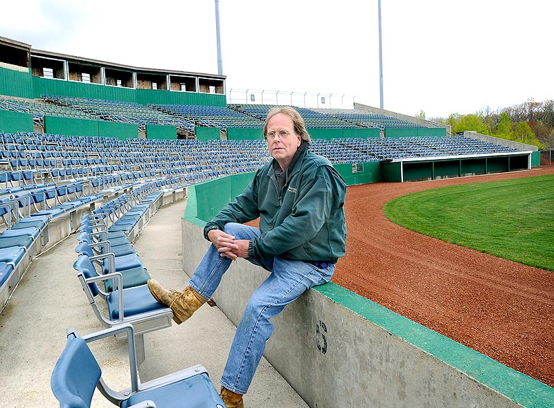 """Paul Crossman volunteered 40-60 hours each week to renovate The Ballpark in Old Orchard Beach to ready it for the United States Collegiate Athletic Association national tournament May 10-14. """"We're down to a punch list,"""" he said."""