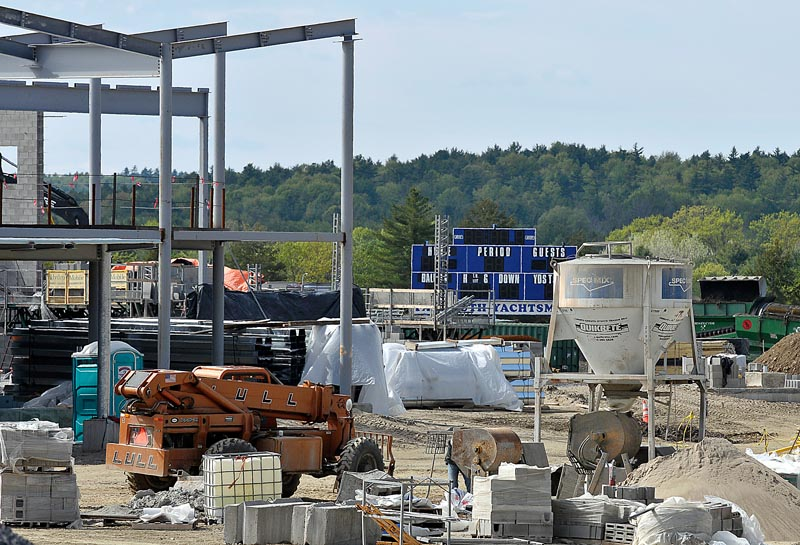 The construction of a new elementary school in Falmouth where a track and multipurpose athletic field once existed has caused the high school track and field team to seek alternative facilities for practices.