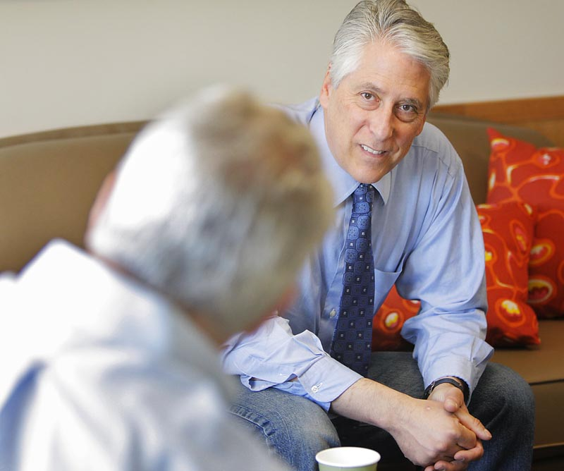 Republican gubernatiorial candidate Les Otten, seen here in a recent meeting in Portland, has emerged as the best-known among the seven GOP hopefuls seeking their party's nod in the June 8 primary.