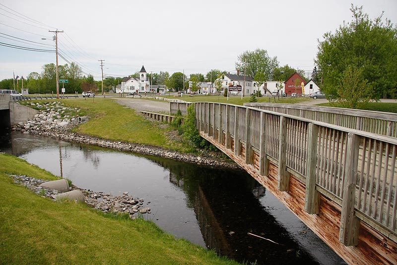 A boardwalk for pedestrians, snowmobiles and ATVs is a highlight in the newly renovated center of Corinna.