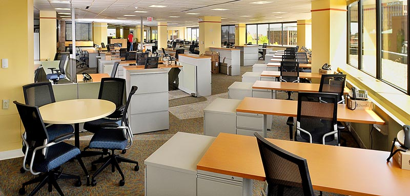 The new city room of The Portland Press Herald/Maine Sunday Telegram, part of MaineToday Media, is set up for the big move this past weekend of the newspapers' editorial staff and administrative support personnel. The new offices are located at One City Center in downtown Portland.