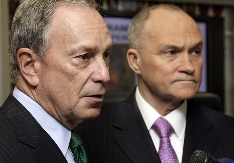 New York Mayor Michael Bloomberg, left, and Police Commissioner Raymond Kelly, answer media questions today.