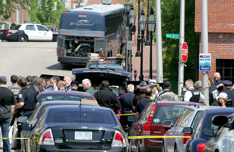 Bomb threat aboard bus clears much of downtown Portsmouth, N.H. on Thursday.